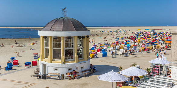 Panorama of the little music house on the boardwalk of Borkum, Germany