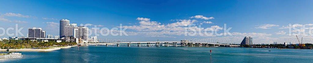 Panorama Of The MacArthur Causeway In Miami, Florida stock photo