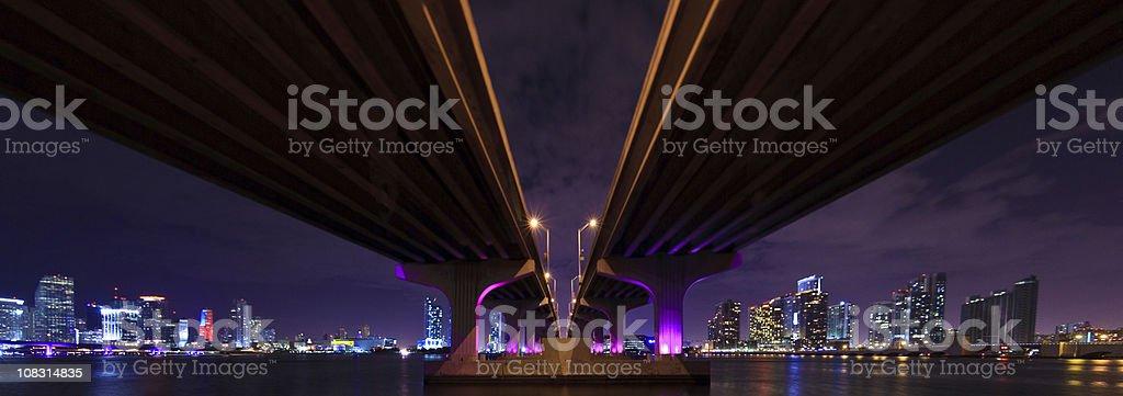 Panorama of the MacArthur Causeway in Miami stock photo