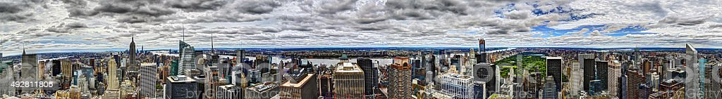Panorama of the Manhattan Skyline on a cloudy afternoon stock photo