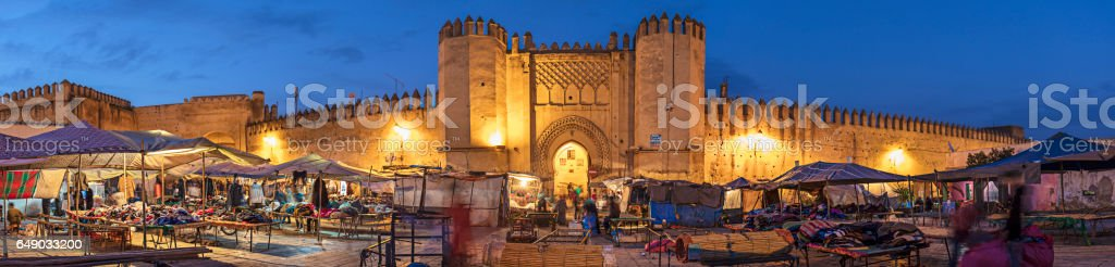 Panorama of the market in Fez stock photo