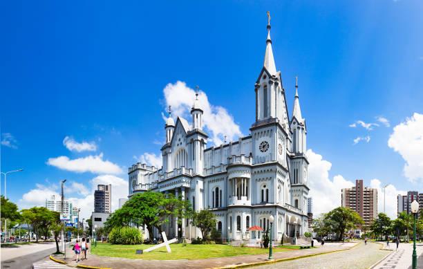 Panorama of The Matriz Church, Igreja do Santissimo Sacramento in Itajai, Santa Catarina, brazil. stock photo