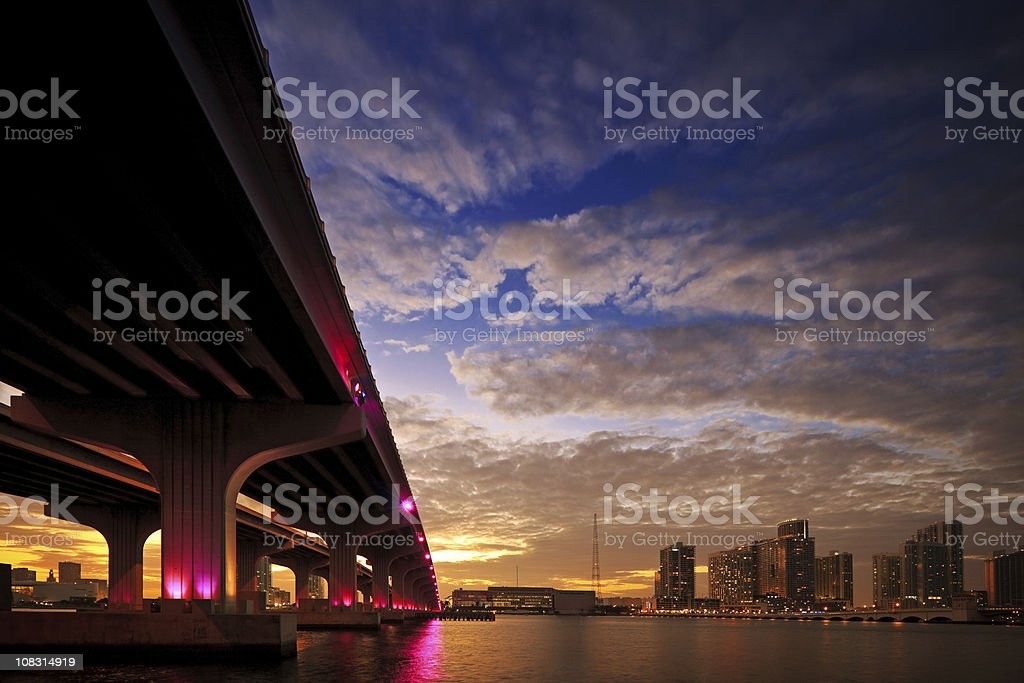 Panorama of the McArthur Causeway in Miami royalty-free stock photo
