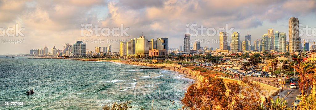 Panorama of the Mediterranean waterfront in Tel Aviv stock photo