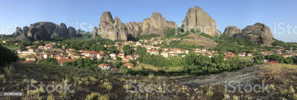 Panorama of the Meteora valley. Kalambaka, Kastraki, central Greece. stock photo