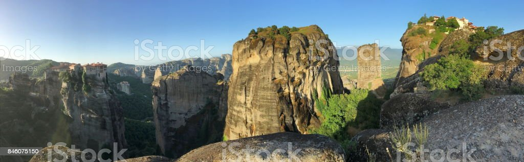 Panorama of the Meteora valley. The Meteora Monasteries, central Greece. stock photo