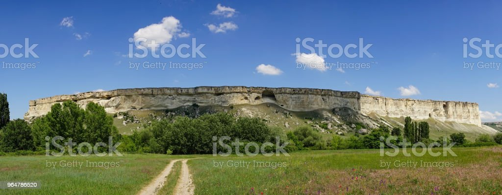 Panorama of the mountain landscape of AK-Kay in the Crimea. royalty-free stock photo