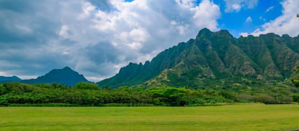 Panorama of the mountain range by famous Kualoa Ranch in Oahu, Hawaii where
