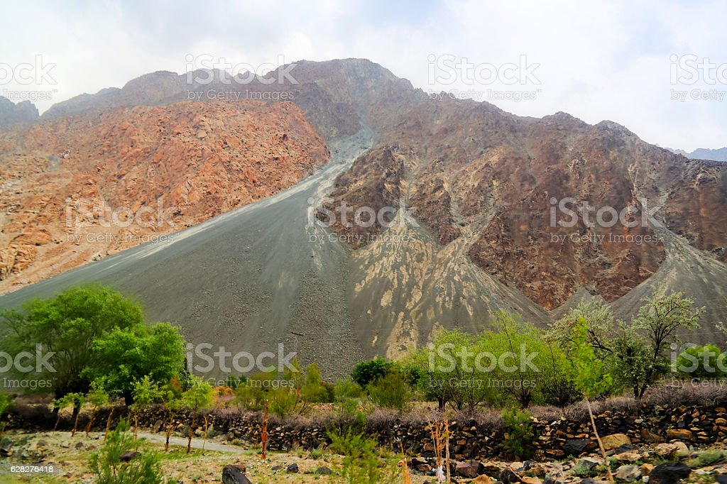 Panorama of the mountains around Gilgit river, Pakistan stock photo