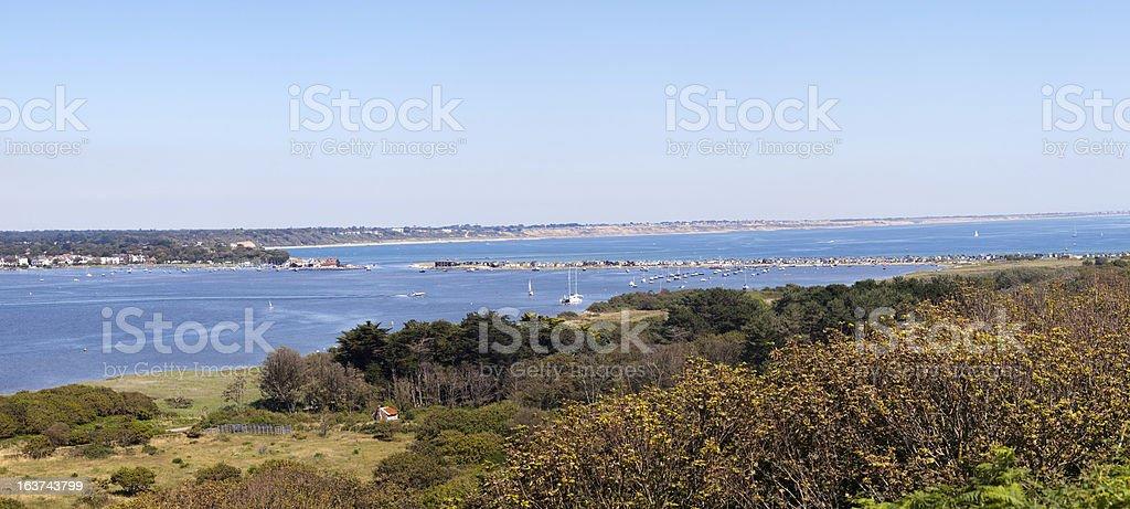 Panorama of the Mudeford Sandspit stock photo