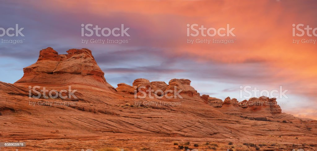 Panorama of the New Wave, Glen Canyon National Monument stock photo