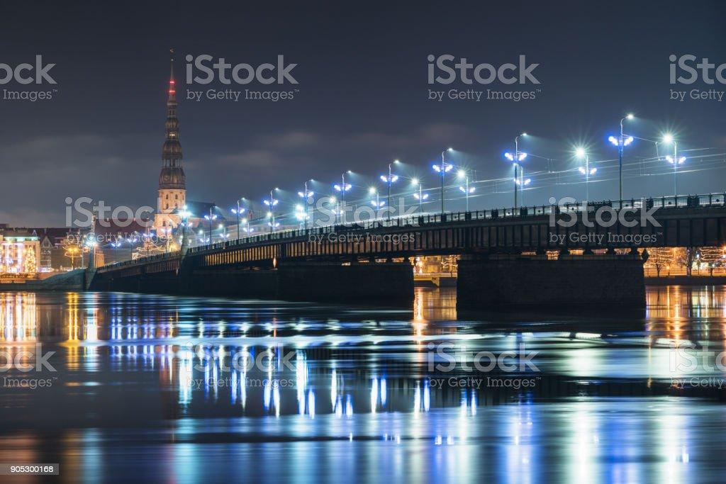 Panorama of the night Riga, Latvia stock photo