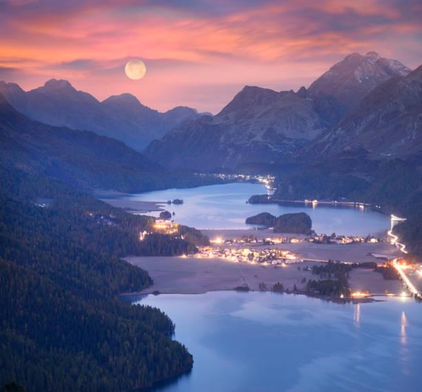 Panorama of the night Silvaplan. stock photo