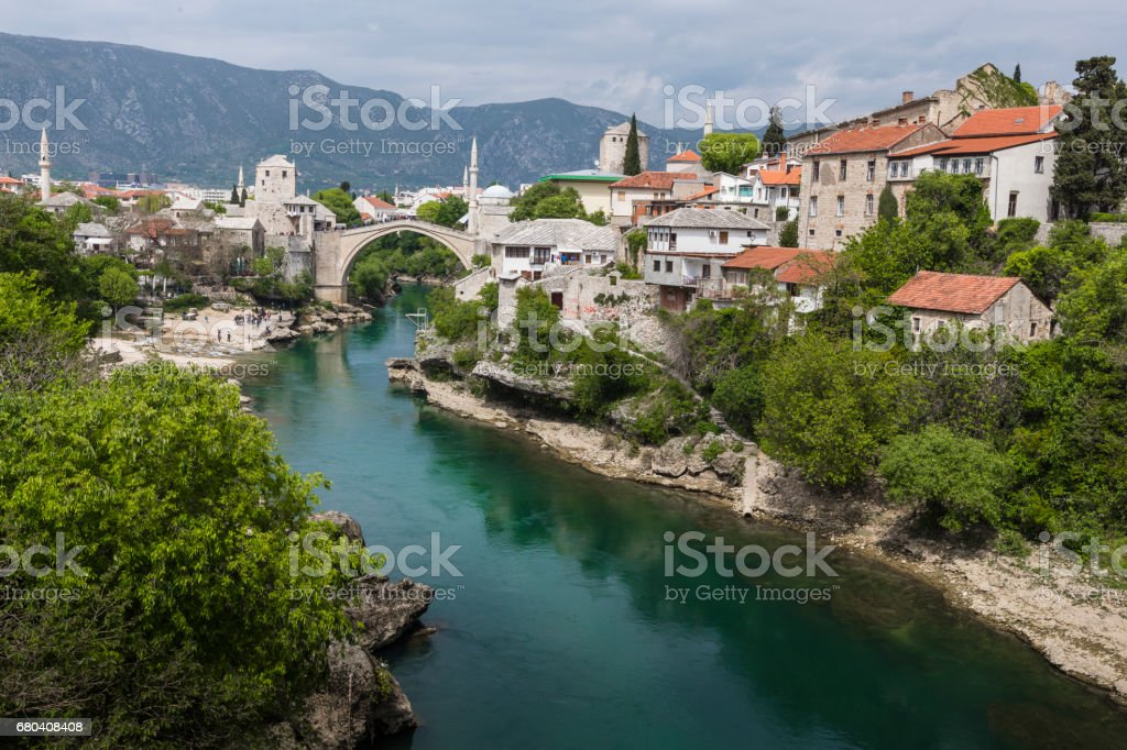 Panorama of The Old Bridge in Mostar in a beautiful summer day, Bosnia and Herzegovina stock photo