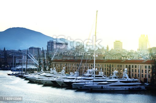 istock panorama of the old port with harbour cranes, pier, yachts, sea view, early morning, dusk and early sunrise 1193910356