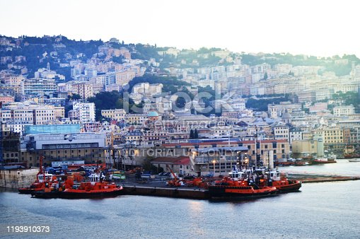 istock panorama of the old port with harbour cranes, pier, yachts, sea view, early morning, dusk and early sunrise 1193910373