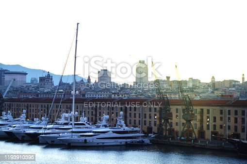 istock panorama of the old port with harbour cranes, pier, yachts, sea view, early morning, dusk and early sunrise 1193910395