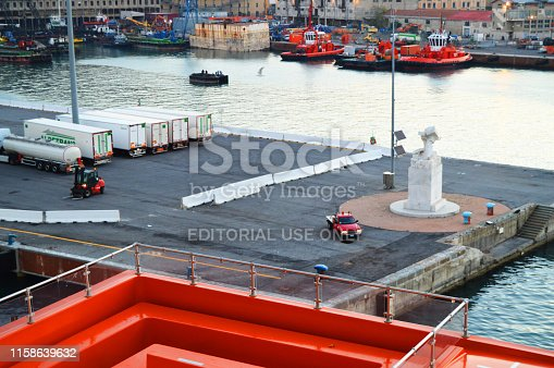 istock Panorama of the old port with port cranes, pier, trucks, sea view, early morning, dusk and the beginning of sunrise 1158639632
