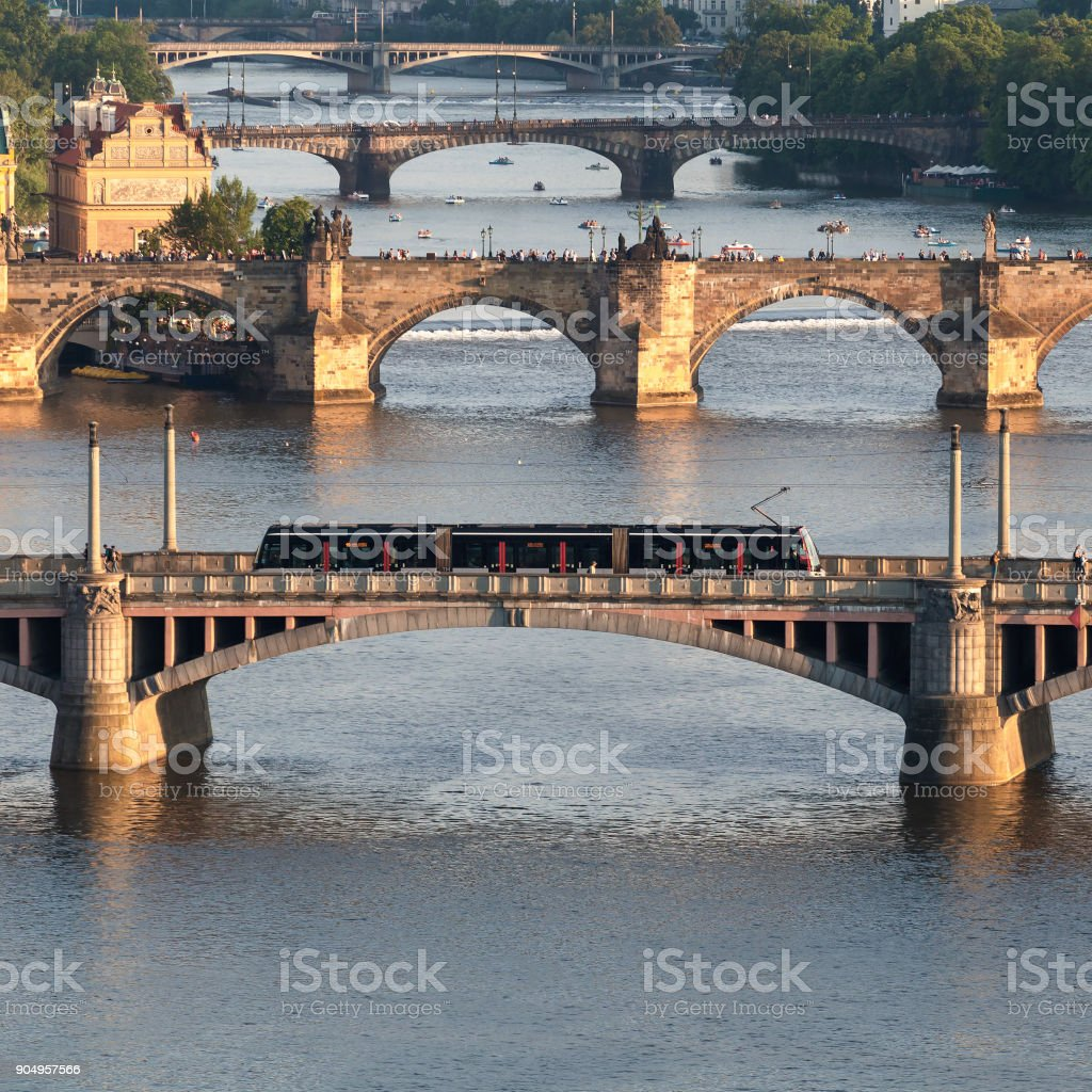 Panorama of the old Prague from the Letna park, Czech Republic. stock photo