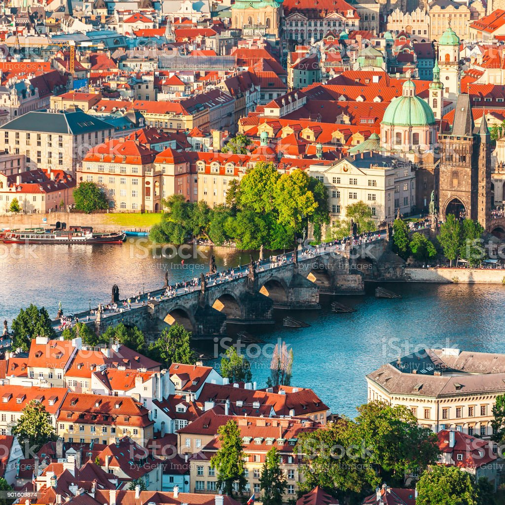Panorama of the old Prague from the Petrin tower, Czech Republic. stock photo