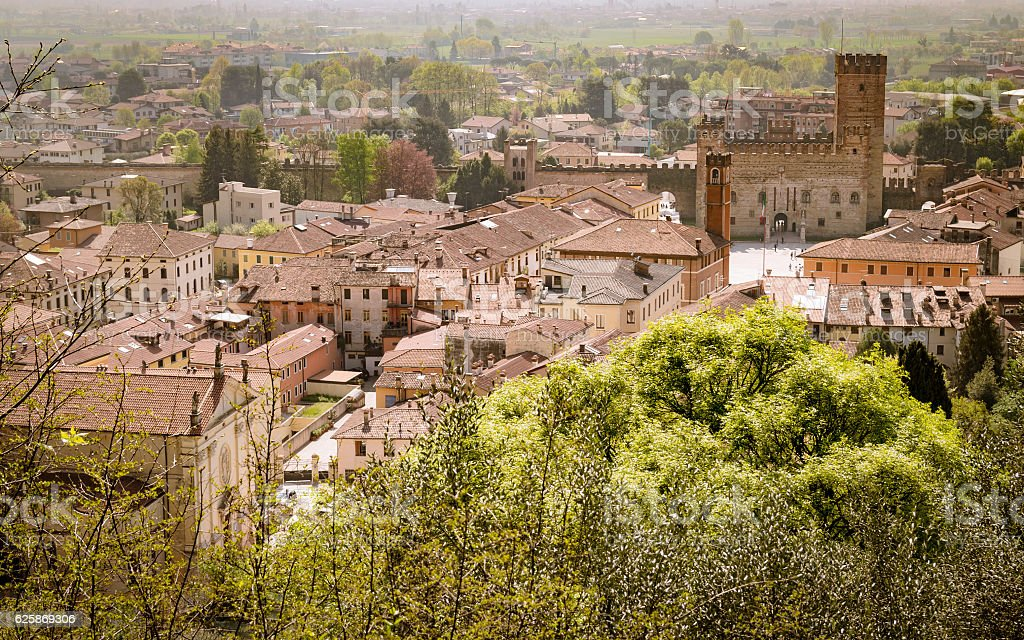 Panorama of the old town of Marostica famous for the stock photo
