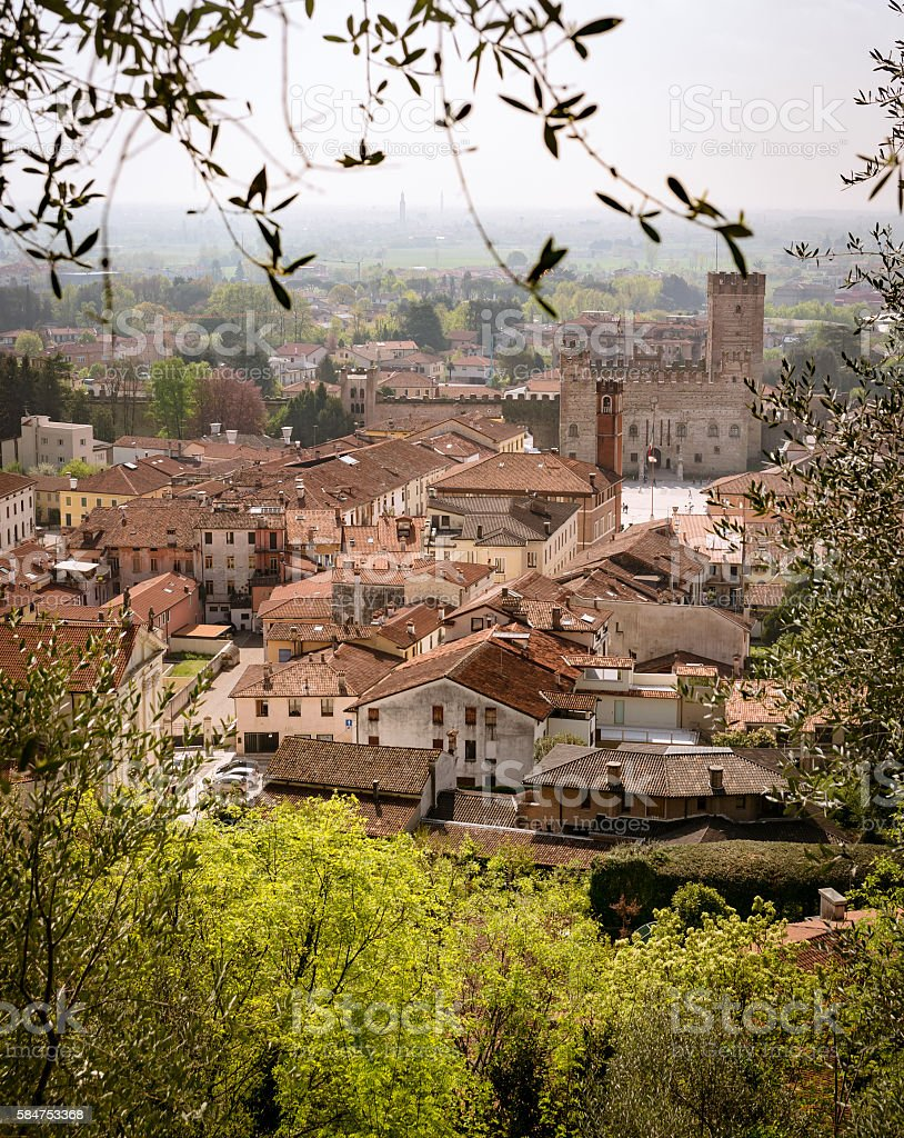 Panorama of the old town of Marostica, Italy. stock photo