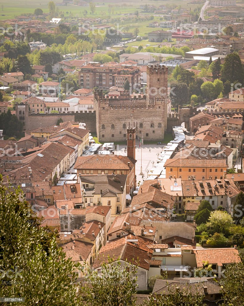 Panorama of the old town of Marostica. stock photo