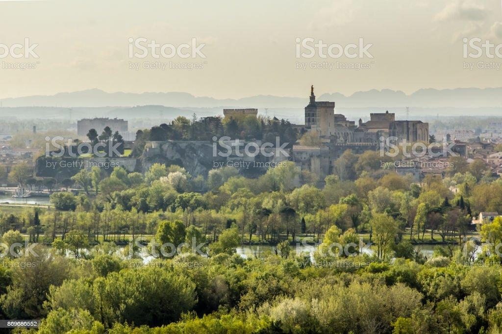 panorama of the papal city of Avignon stock photo