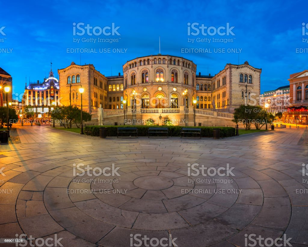 Panorama of the Parliament of Norway in the Evening, Oslo, Norway stock photo
