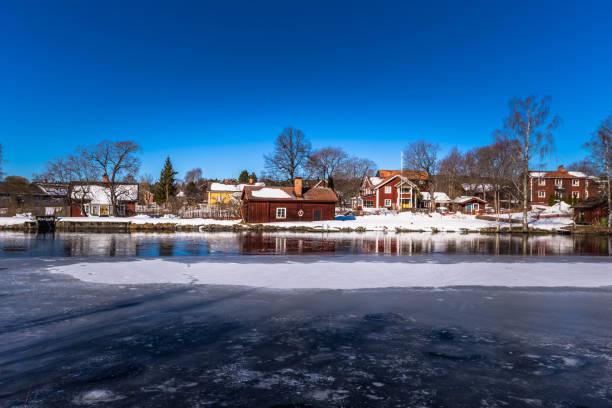 Sundborn - 30. März 2018: Ausblick auf die malerische Stadt Sundborn in Dalarna, Schweden – Foto