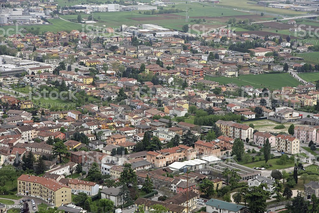 panorama of the plain with houses stock photo