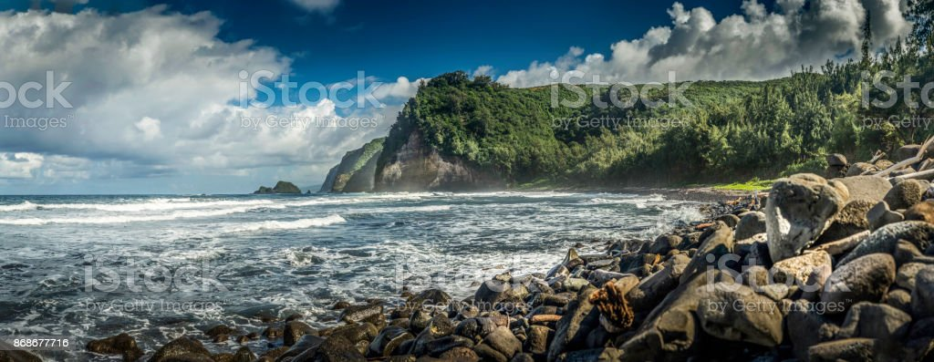 Panorama of the Pololu Valley Shoreline stock photo