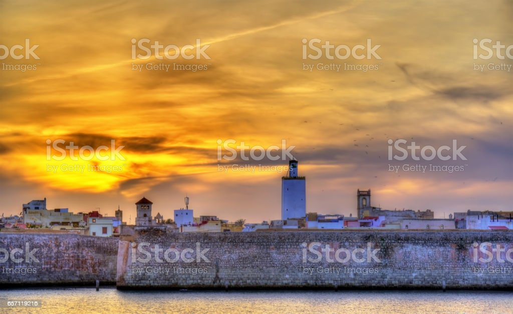 Panorama of the Portuguese City of Mazagan in El-Jadidia, Morocco stock photo