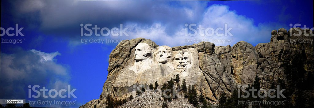 Panorama of the presidents at Mount Rushmore in South Dakota stock photo