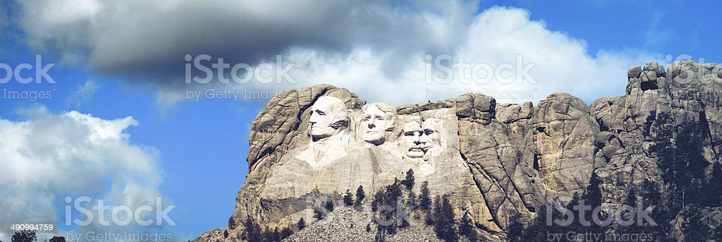 Panorama of the presidents at Mount Rushmore in South Dakota stock photo