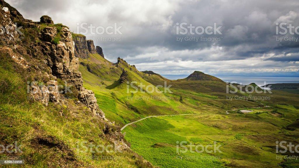 Panorama of the Quiraing mountain range stock photo