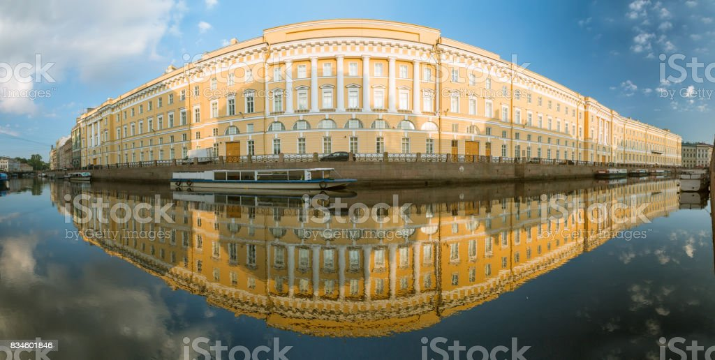 Panorama of the reflection of the old house in the river Moika in St. Petersburg stock photo