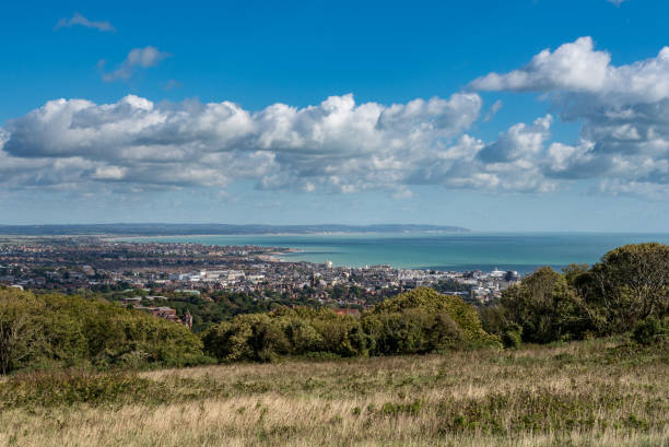 Panorama of the resort of Eastbourne in Sussex stock photo