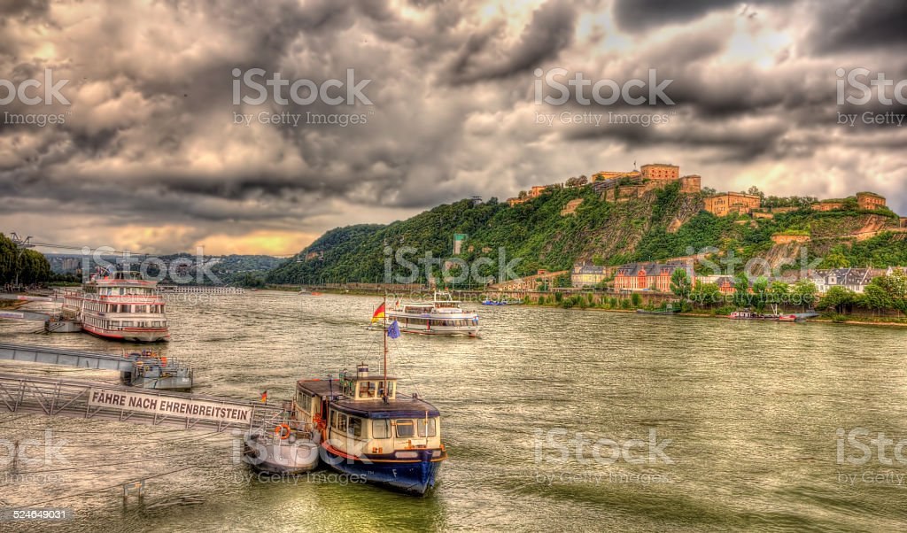 Panorama of The Rhine in Koblenz, Germany stock photo