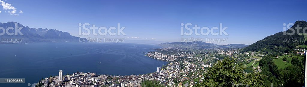 Panorama of the 'Riviera Vaudoise' and Lake Leman stock photo