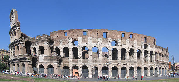 Panorama of the Roman Colosseum stock photo