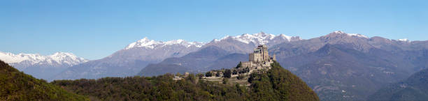 Panorama of the Sacra di San Michele (Saint Michael Abbey) stock photo