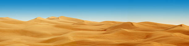 Panorama of the sand dunes in the desert stock photo