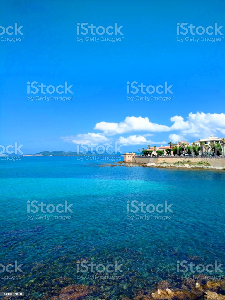 Panorama of the sea and alghero. stock photo