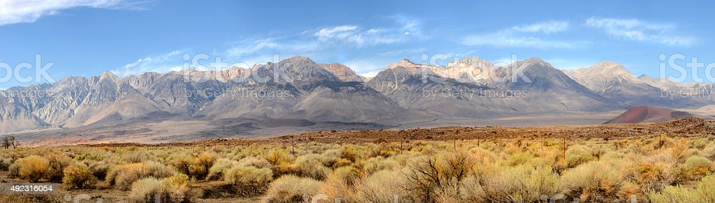 Panorama of the Sierra Nevada Mountains stock photo