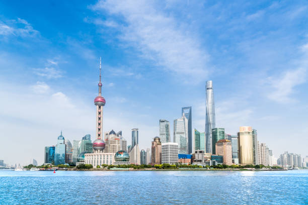 Panorama of the skyline of Shanghai, China, with the iconic buildings Asia, China - East Asia, Huangpu District, Oriental Pearl Tower - Shanghai, Pudong oriental pearl tower shanghai stock pictures, royalty-free photos & images