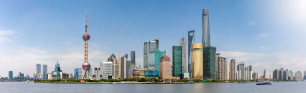Panorama of the skyline of Shanghai, China, with the iconic buildings Panorama of the skyline of Shanghai, China, with the iconic buildings, during a clear, sunny day shanghai stock pictures, royalty-free photos & images