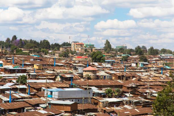 Panorama of the slums of Kibera, Kenya stock photo