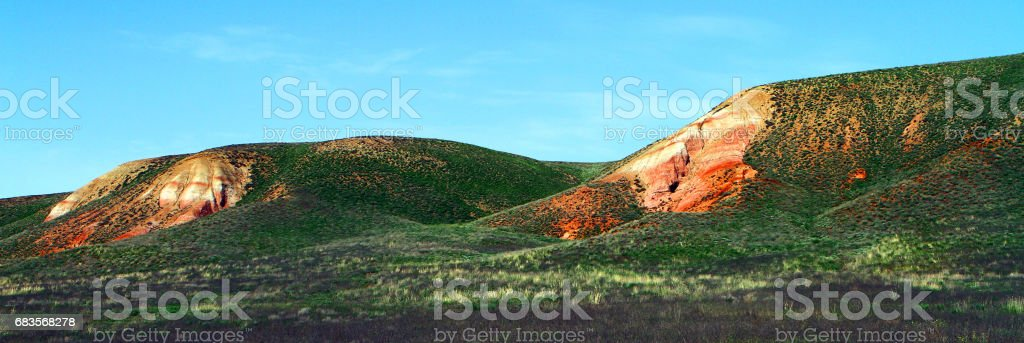 Panorama of the small layered mountains stock photo