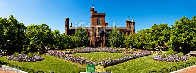 Washington DC, USA - May 2, 2013: Panorama of the Smithsonian Institution Castle